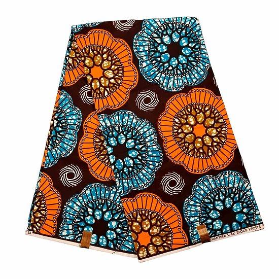 Coupon de tissu - Wax 100% coton - Graphiques - Orange / Bleu / Marron