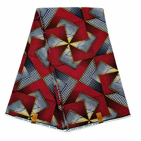 Coupon de tissu - Wax 100% coton - Graphiques - Rouge / Jaune / Noir