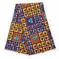Pagne - Wax 100% coton - Graphiques - Jaune / Bleu / Marron