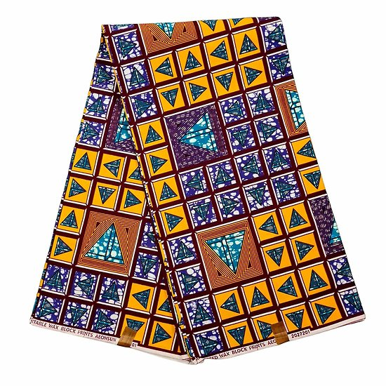 Coupon de tissu - Wax 100% coton - Graphiques - Jaune / Bleu / Marron