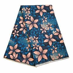 Coupon de tissu - Wax 100% coton - Fleurs - Bleu / Saumon / Noir