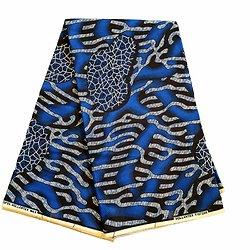 Coupon de tissu - Wax 100% coton - Graphiques - Bleu / Noir / Crème