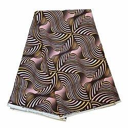 Coupon de tissu - Wax 100% coton - Graphiques - Rose / Jaune / Noir