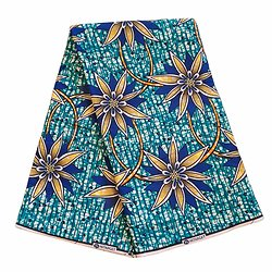 Pagne - Wax 100% coton - Fleurs - Bleu / Jaune / Noir - Hitarget