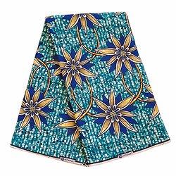 Coupon de tissu - Wax 100% coton - Fleurs - Bleu / Jaune / Noir - Hitarget