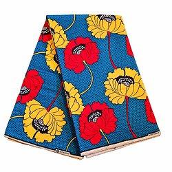 Pagne - Wax 100% coton - Fleurs - Jaune / Rouge / Bleu