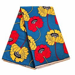 Coupon de tissu - Wax 100% coton - Fleurs - Jaune / Rouge / Bleu