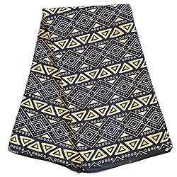 Coupon de tissu - Wax 100% coton - Graphiques - Noir / Jaune / Crème