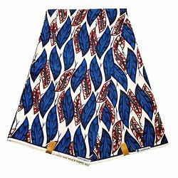 Coupon de tissu - Wax 100% coton - Graphiques - Bleu / Blanc / Marron