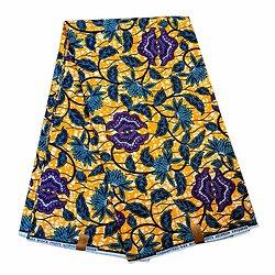 Coupon de tissu - Wax 100% coton - Fleurs - Orange / Violet / Bleu