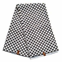 Coupon de tissu - Wax 100% coton - Graphiques - Jaune / Noir / Blanc