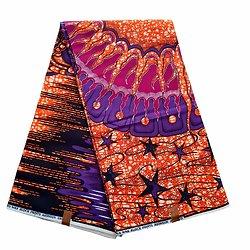 Coupon de tissu - Wax 100% coton - Graphiques - Orange / Bordeaux / Violet