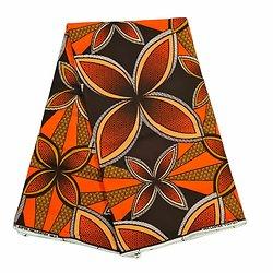 Coupon de tissu - Wax 100% coton - Graphiques - Orange / Ocre / Marron