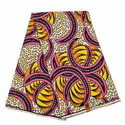 Pagne - Wax 100% coton - Graphiques - Rose /- Orange / Jaune