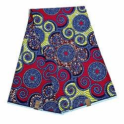 Coupon de tissu - Wax 100% coton - Graphiques - Rouge / Bleu / Jaune