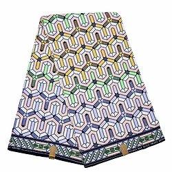 Coupon de tissu - Wax 100% coton - Graphiques - Bleu / Jaune / Vert