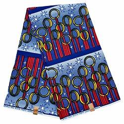 Coupon de tissu - Wax 100% coton  Boucles - Rouge / Jaune / Bleu
