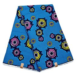 Coupon de tissu - Wax 100% coton - Engrenages - Bleu / Rose / Jaune