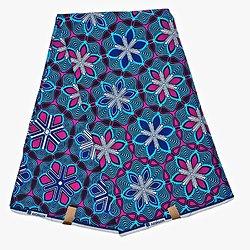 Coupon de tissu - Wax 100% coton - Croix de vie - Bleu / Violet / Noir