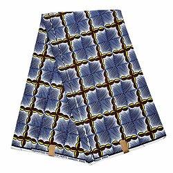 Coupon de tissu - Wax 100% coton - Graphiques - Jaune / Rouge / Bleu