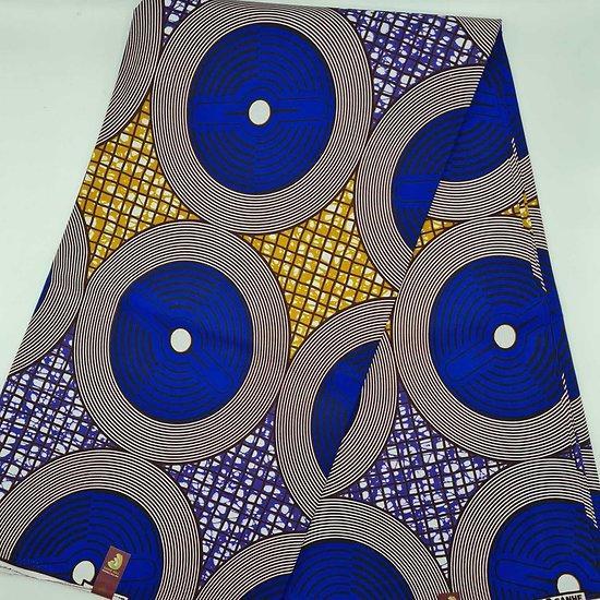 Coupon de Tissu - Wax  - Rond - Graphique - Bleu