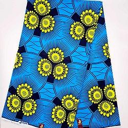 Coupon de tissu - Wax - Fleurs - Bleu / Jaune / Noir