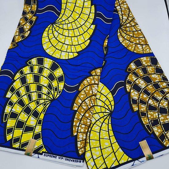 Coupon de tissu - Wax - Coquillages - Bleu / Jaune / Noir