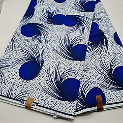 Pagne - Wax - Graphiques - Bleu / Blanc