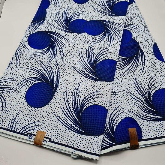 Coupon de tissu - Wax - Graphiques - Bleu / Blanc