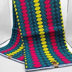 Coupon de tissu - Wax  - Demi-cercle - Graphique - Rouge / Jaune / Vert