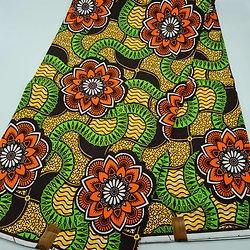 Coupon de tissu - Wax - Fleurs - Orange / Jaune / Vert