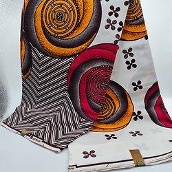 Coupon de tissu - Wax - Spirales - Orange / Rouge / Blanc