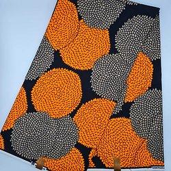 Coupon de tissu - Wax - Ronds - Orange / Gris / Marron