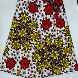 Coupon de tissu - Wax - Etoiles - Jaune / Marron / Rouge