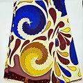 Coupon de tissu - Wax - Spirales - Bleu / Jaune / Bordeaux