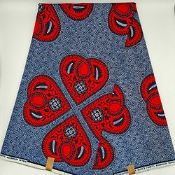 Coupon de tissu - Wax - Ly Die - Rouge / Bleu / Blanc