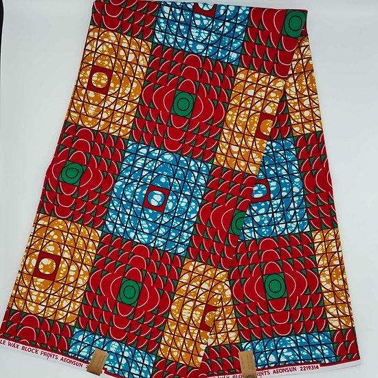 Coupon de tissu - Wax - Graphiques - Bleu / Rouge / Orange