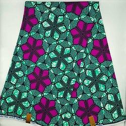 Coupon de tissu - Wax - Graphiques - Vert / Violet / Noir