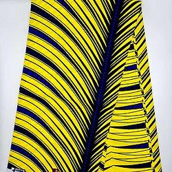 Coupon de tissu - Wax - Ronds - Jaune / Bleu / Noir