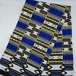 Coupon de tissu - Wax - Graphiques - Bleu / Jaune / Noir / Pailleté
