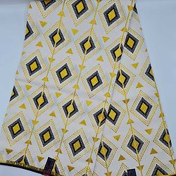 Coupon de tissu - Wax - Triangles - Pailleté Jaune / Noir / Blanc