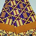 Coupon de tissu - Wax - Graphiques - Pailleté - Rouge / Violet / Bleu / Jaune