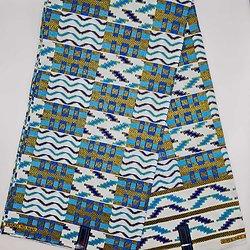 Coupon de tissu - Wax - Graphiques - Pailleté - Bleu / Jaune / Blanc