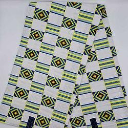 Coupon de tissu - Wax - Graphiques - Pailleté - Blanc / Jaune / Bleu