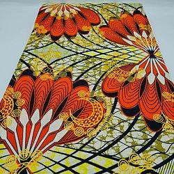 Coupon de tissu - Wax - Plumes - Pailleté - Orange / Jaune / Noir