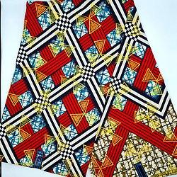 Coupon de tissu - Wax - Graphiques - Pailleté - Bleu / Rouge / Blanc