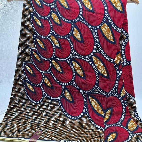 Coupon de tissu - Wax - Pétales - Rouge / Noir / Brun