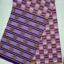 Coupon de tissu - Wax - Graphiques - Pailleté - Violet / Jaune / Blanc
