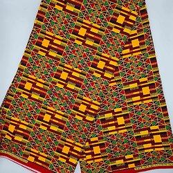 Coupon de tissu - Wax - Graphiques - Pailleté - Orange / Rouge / Noir