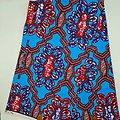 Coupon de tissu - Wax - Graphiques - Bleu / Marron / Rouge